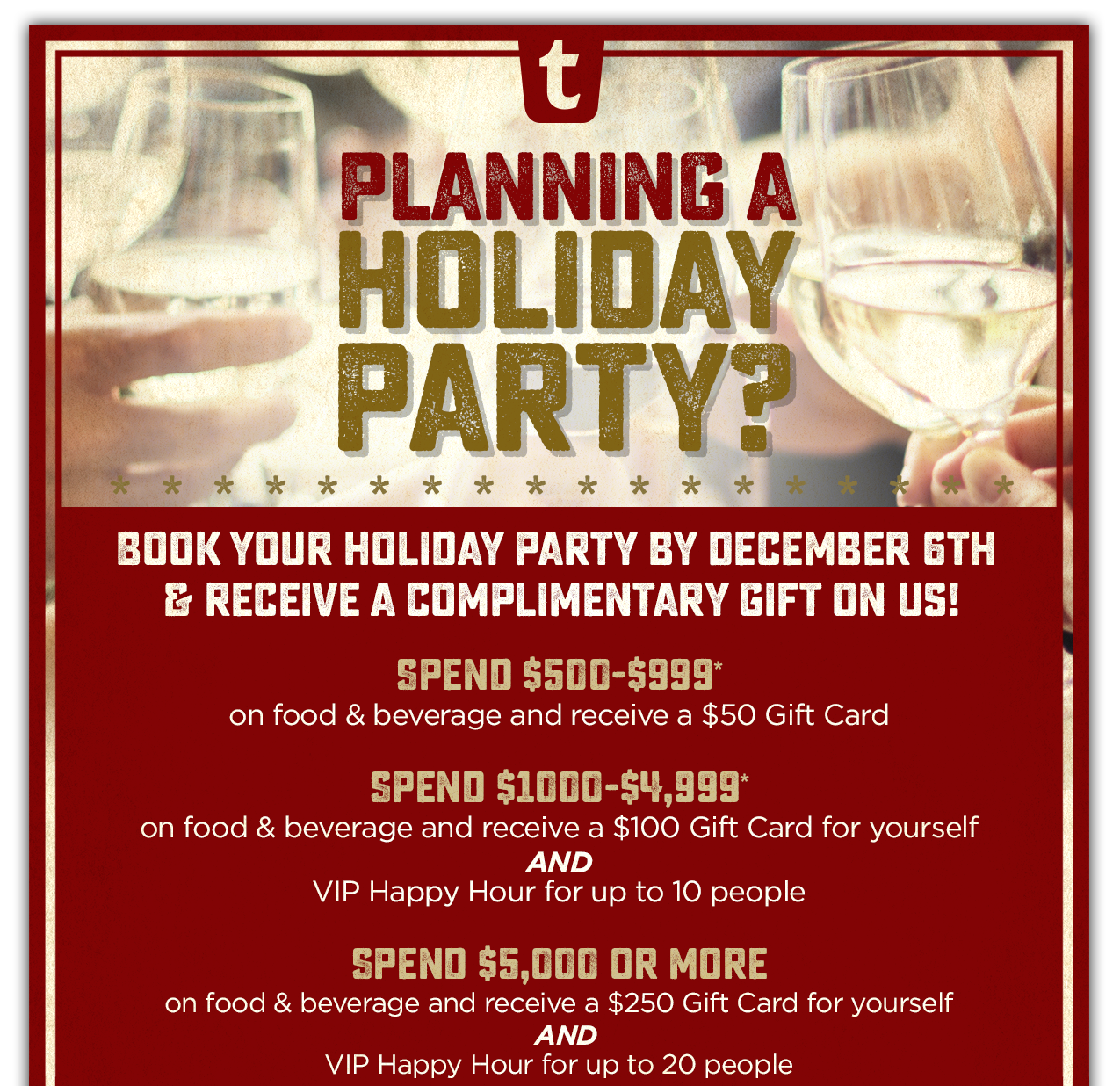 Book your holiday party at any one of our locations!
